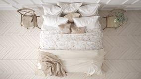 Minimalistic klassiskt sovrum, bästa sikt, vit inredesign royaltyfri illustrationer