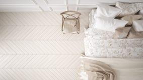 Minimalistic klassiskt sovrum, bästa sikt, vit inredesign fotografering för bildbyråer