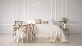 Minimalistic klassiskt sovrum, vit inredesign arkivfoton