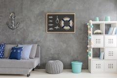Minimalistic kugge i grå färgruminre stock illustrationer