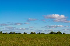 Minimalistic landscape of green meadow and blue sky with clouds with horizon according to the rule of thirds. Minimalistic landscape of green meadow and blue stock image