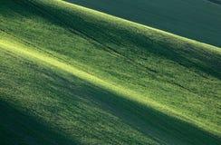 Minimalistic-Landschaft mit Wellenhügeln, grüne Felder, Südmor lizenzfreie stockfotografie