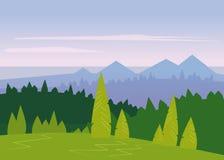 Minimalistic landschap, bergen, overzees, geïsoleerde bomen, vlak, vector, illustratie Stock Afbeeldingen