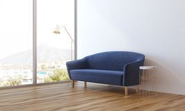 Blue sofa in a panoramic living room Stock Photos