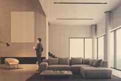 Minimalistic living room interior, poster double Stock Images