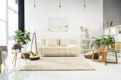 Minimalistic living room interior with white furniture and plants, lit stock image