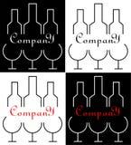 Minimalistic logo dla alkoholu biznesu trzy butelka projekta i szkła Obrazy Royalty Free