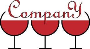 Minimalistic logo dla alkoholu biznesu trzy szkła Obraz Royalty Free