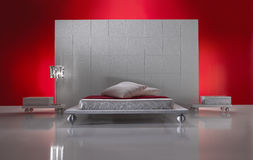 Minimalistic Luxurious Bedroom Front view Stock Photo