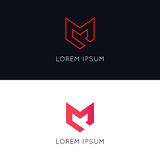 Minimalistic M icon sign company logotype vector design. M icon sign company logotype vector design royalty free illustration