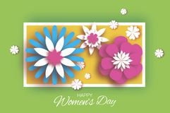 Minimalistic 8 March. Origami Happy Women`s Day. Floral. Greeting Card. Paper cut Pink Blue Flowers. Rectangle gorizontal frame. Text. Spring blossom. Seasonal Royalty Free Illustration