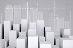 Minimalistic miasto biali sześciany z ramą royalty ilustracja