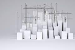 Minimalistic miasto biali sześciany z ramą ilustracja wektor