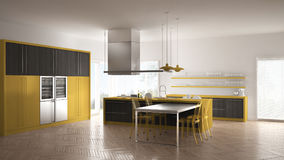 Minimalistic modern kitchen with table, chairs and parquet floor. Gray and yellow interior design Royalty Free Stock Image