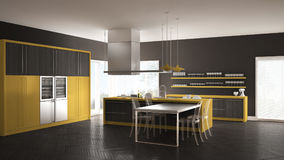 Minimalistic modern kitchen with table, chairs and parquet floor Stock Image