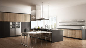 Minimalistic modern kitchen with table, chairs and parquet floor Royalty Free Stock Photos