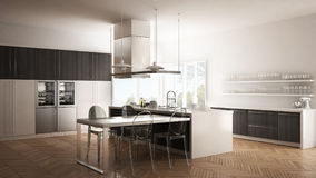 Minimalistic modern kitchen with table, chairs and parquet floor Royalty Free Stock Images
