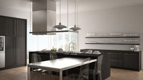 Minimalistic modern kitchen with table, chairs and parquet floor Royalty Free Stock Photo