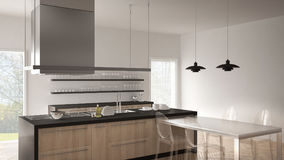 Minimalistic modern kitchen with table, chairs and parquet floor Stock Photos