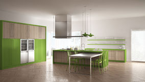 Minimalistic modern kitchen with table, chairs and parquet floor Royalty Free Stock Photography