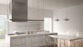 Minimalistic modern kitchen with table, chairs and parquet floor Stock Photo