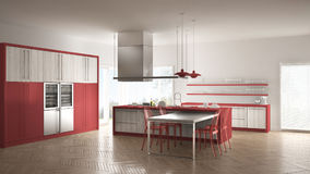 Minimalistic modern kitchen with table, chairs and parquet floor Stock Photography