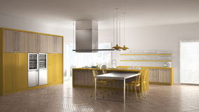 Minimalistic modern kitchen with table, chairs and parquet floor Stock Images