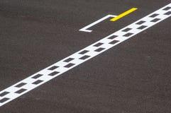 Minimalistic photo of finish line on track Stock Photo