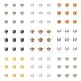 Minimalistic plana djura emoticons för vektor Royaltyfria Bilder