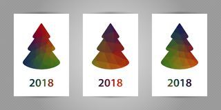 Minimalistic polygonal New Year tree on white background. Christmas greeting card with colorful geometric texture and Royalty Free Stock Photography