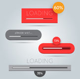 Minimalistic progress loading bars Stock Images