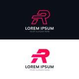 Minimalistic R letter sign company logo icon vector design. R letter sign company logo icon vector design Stock Images