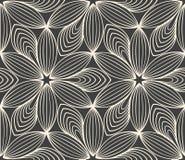 Minimalistic repeating linear flower pattern stock illustration