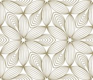 Minimalistic repeating linear flower pattern vector illustration