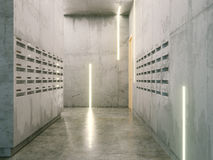Minimalistic room with concrete surfaces ( post boxes on two sid Stock Images