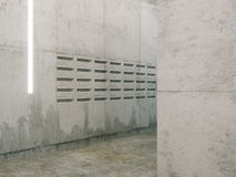 Minimalistic room with concrete surfaces ( post boxes view ) Stock Photo