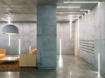 Minimalistic room with concrete surfaces ( post and living room Stock Photography