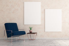 Minimalistic room with furniture and empty banners. Minimalistic room interior with armchair, decorative plant and empty banners on wall. Mock up, 3D Rendering Stock Photography