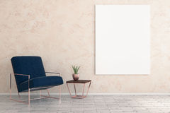 Minimalistic room with furniture and empty poster. Minimalistic room interior with armchair, decorative plant and empty poster on wall. Mock up, 3D Rendering Royalty Free Stock Photos