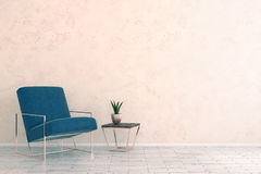 Minimalistic room with furniture and empty wall. Minimalistic room interior with armchair, decorative plant and empty copy space on wall. Mock up, 3D Rendering Stock Images