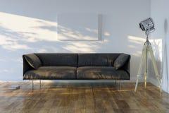 Minimalistic Room With Sofa And Spotlight Stock Photography