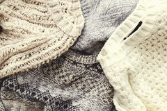 Free Minimalistic Rustic Composition With Stacked Vintage Knitted Easy Chic Oversized Style Sweaters, Knitwear Outfit. Royalty Free Stock Photo - 122598915