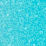 Minimalistic sömlös modell med symboler på temat av rengöringsduken, internet, applikationer, telefon Vit vektor på en blå bakgru vektor illustrationer