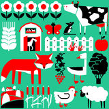 Minimalistic seamless pattern with farm and cute animals. Vector flat minimalistic seamless pattern with farm and cute animals Royalty Free Stock Images