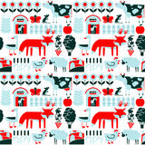 Minimalistic seamless pattern with farm and cute animals. Vector flat minimalistic seamless pattern with farm and cute animals Stock Image