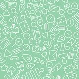 Minimalistic seamless pattern with icons on the theme of web, internet, applications, telephone. White vector on a new mint royalty free illustration