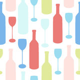 Minimalistic seamless vector pattern with bottles and glasses. Good for kitchen or cafe design Royalty Free Stock Photography