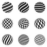 Minimalistic shapes. Halftone black color spheres. Set of minimalistic shapes. Halftone black color spheres isolated on white background. Stylish emblems. Vector Royalty Free Stock Photo