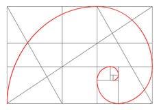 Minimalistic stildesign guld- förhållande geometriska former Cirklar i guld- proportion Futuristic design logo gears symbolen _ Royaltyfri Fotografi
