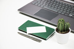 Minimalistic still life with laptop, white headphones, small cac. Tus and business card on green notebook Royalty Free Stock Photos